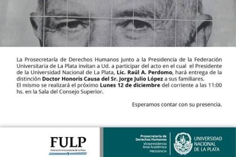Entregan Honoris Causa de Jorge Julio López a sus familiares