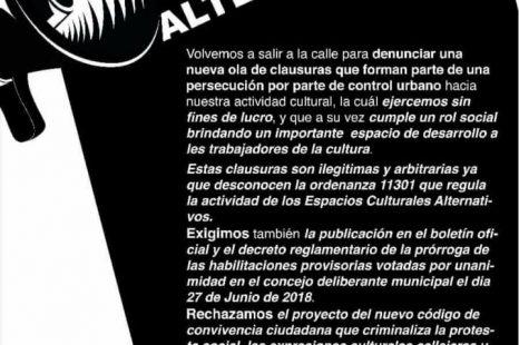 """Convocan a un""""Culturazo"""" contra la clausura de espacios culturales en la ciudad"""