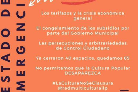 EMERGENCIA CULTURAL: «Cerraron la mitad de los espacios registrados en La Plata»